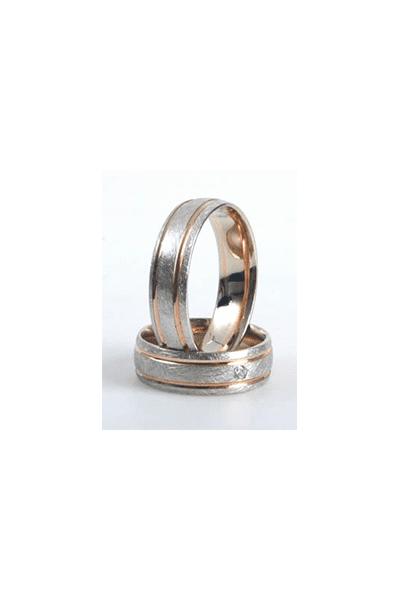 LEWIKO Vjenčani prsten od crvenog zlata s dijamantom 0,03ct