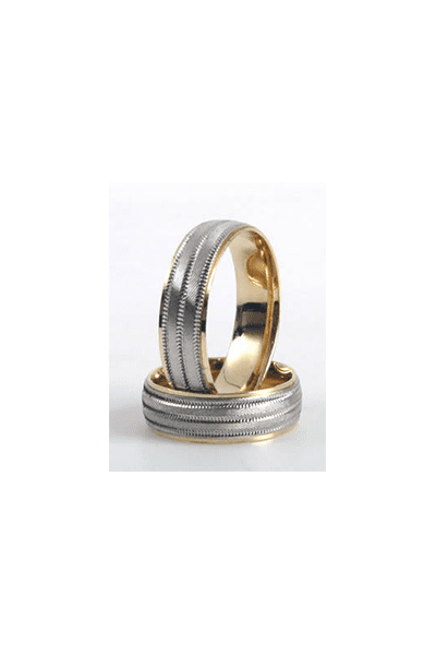 LEWIKO Zlatni vjenčani prsten od bijelog i žutog zlata