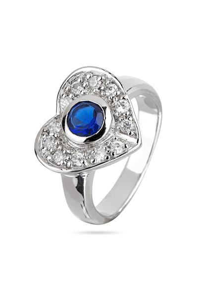 Srebrni prsten srce s bijelim i plavim cirkonom