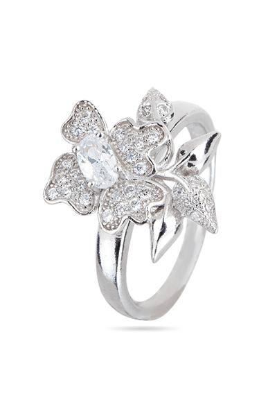Srebrni prsten cvijet s cirkonima