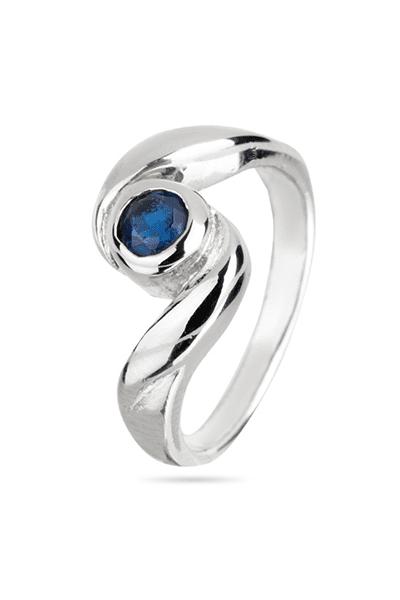 Srebrni prsten s tamno plavim cirkonom