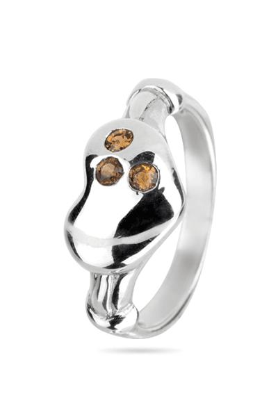Srebrni prsten sa žutim cirkonima