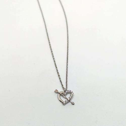 Zlatna ogrlica od bijelog zlata sa simbolom srca ispunjenog cirkonima