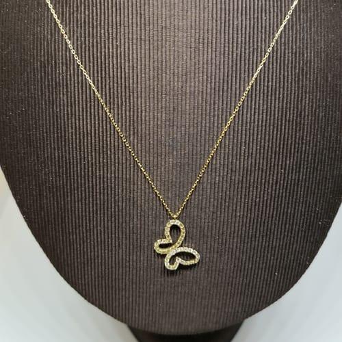 Zlatna ogrlica s leptir privjeskom ispunjenog cirkonima