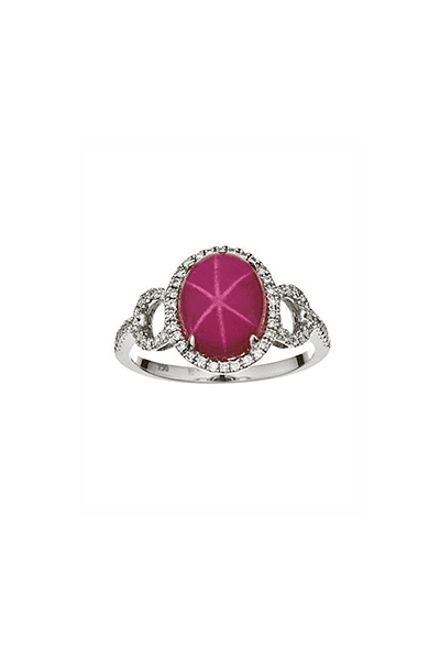 Prsten s dragim kamenjem Star rubin i dijamantima